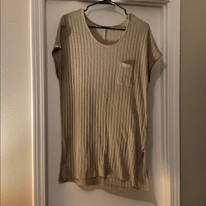 Topshop Tan Short Sleeve Sweater Shirt